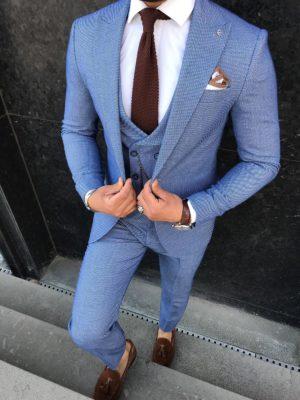 costume adamo bleu avec cravate et chaussures marrons/bordeaux