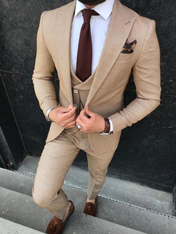 costume brun alessandro avec chaussures et accessoires marrons