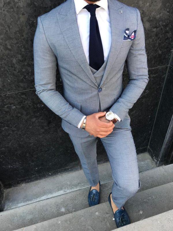 costume arturo gris avec chaussures et cravate bleu